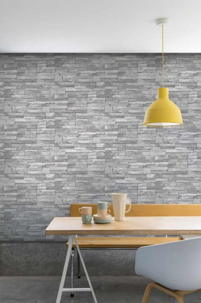 Grandeco Stone Effect Grey A17202 Wallpaper